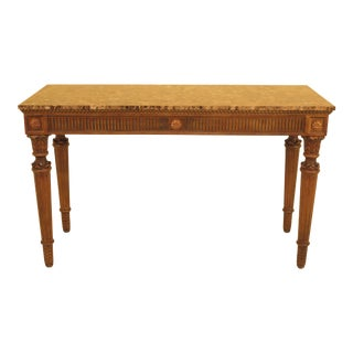 1990s French Louis XVI Marble Top Console Table For Sale