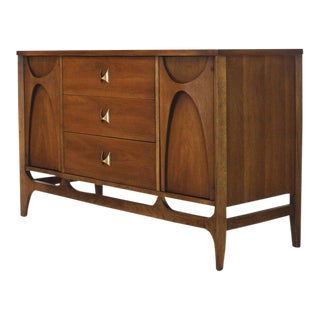 Compact Walnut Dresser Sideboard with Molded Plywood Sculptural Elements For Sale
