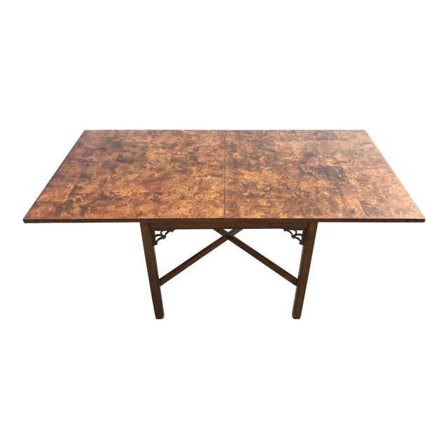 1960s Chippendale Patchwork Burl Wood Flip Top Game/Dining Table For Sale
