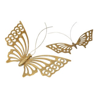 Vintage Solid Brass Butterflies - a Pair For Sale