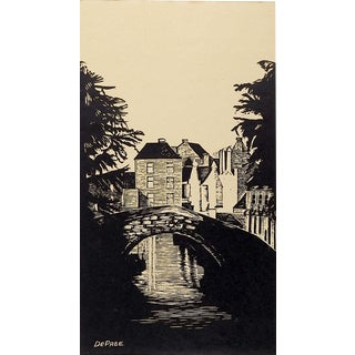 Bruges Woodcut Print by John DePree For Sale