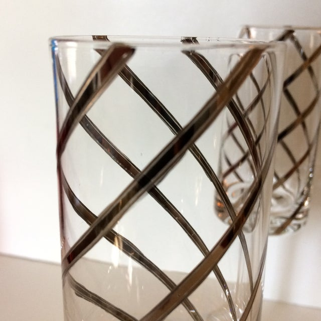 Silver Vintage Crystal Platinum Swirl Toasting Glasses - A Pair For Sale - Image 8 of 11