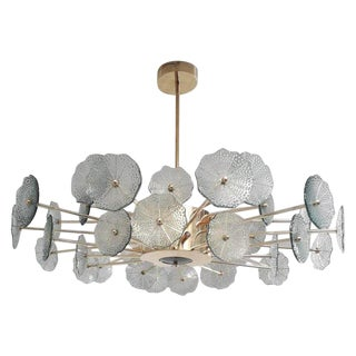 Green Flowers Chandelier by Fabio Ltd For Sale