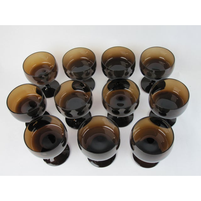 Brown Vintage Smoked Brown Coupes & Goblets - Set of 21 For Sale - Image 8 of 8