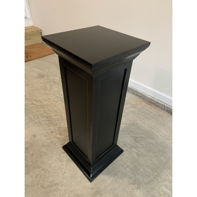 Rustic Vintage Squared Detailed Wood Rustic Black Plant Stand Column Pedestal With Widened Ends For Sale - Image 3 of 6