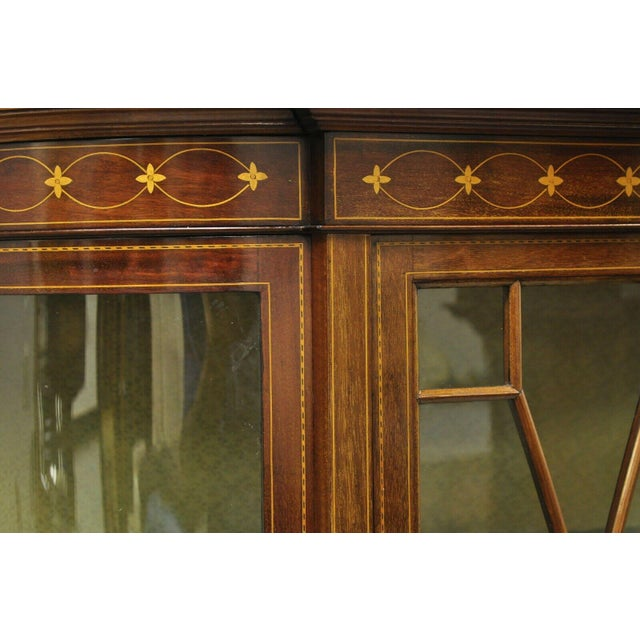 English English Edwardian Satinwood Inlay Bowed Curved Glass China Display Cabinet Curio For Sale - Image 3 of 13