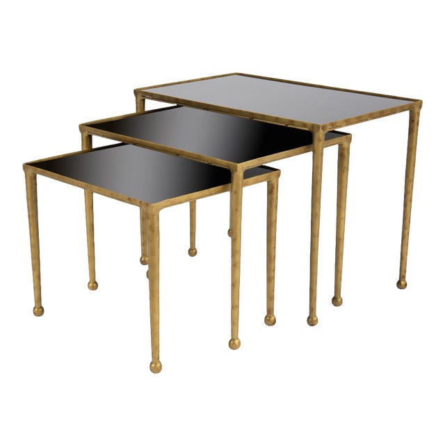 Trio Of Gilt Metal Nesting Tables - Set of 3 For Sale