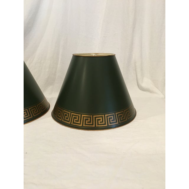 Green Tole Painted Metal With Greek Key Border Lampshades - a Pair For Sale - Image 4 of 9