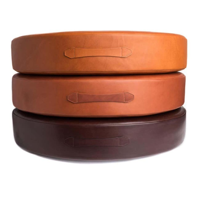 Modern Leather Drum Stacking Floor Cushion in Caramel by Moses Nadel For Sale - Image 3 of 7