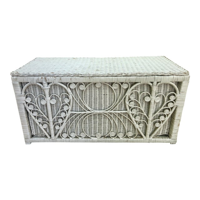 White Heart Peacock Wicker Rattan Trunk For Sale
