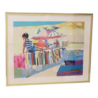 "Nicola Simbari (1927 - 2012) ""Boy on a Beach Towel"" Original Serigraph C.1976 For Sale"