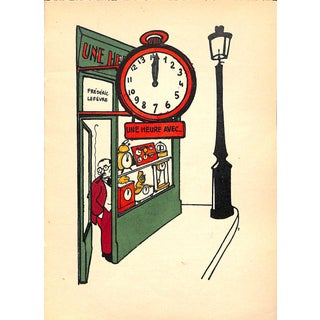 Paris Storefront, French Lithograph, Une Heure Avec, 1925, Matted For Sale