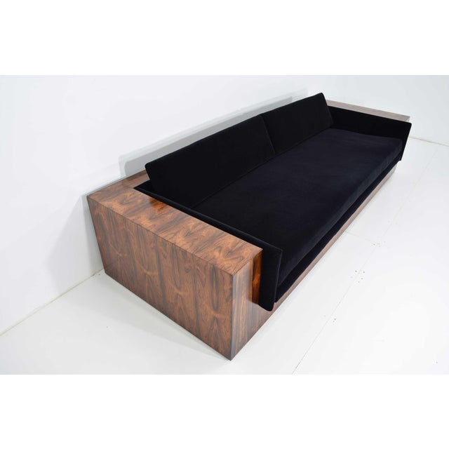 Wood Milo Baughman for Thayer Coggin Rosewood Case Sofa in Maharam Mohair For Sale - Image 7 of 13