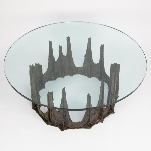 "Lovely Paul Evans stalagmite coffee table from the ""Sculpted Metal"" collection for Directional Furniture. Signed ""PE 69""..."