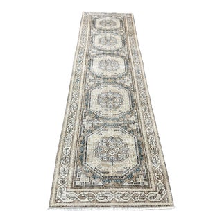 1960s Traditional Turkish Handmade Faded Runner- 2′6″ × 10′3″ For Sale