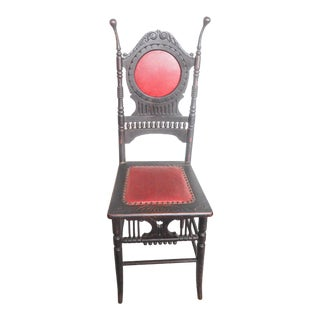 19th Century Ebonized Chair With Baby Rattle Finials For Sale