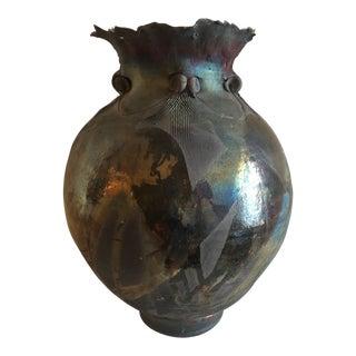 Vintage Large Raku Vase For Sale