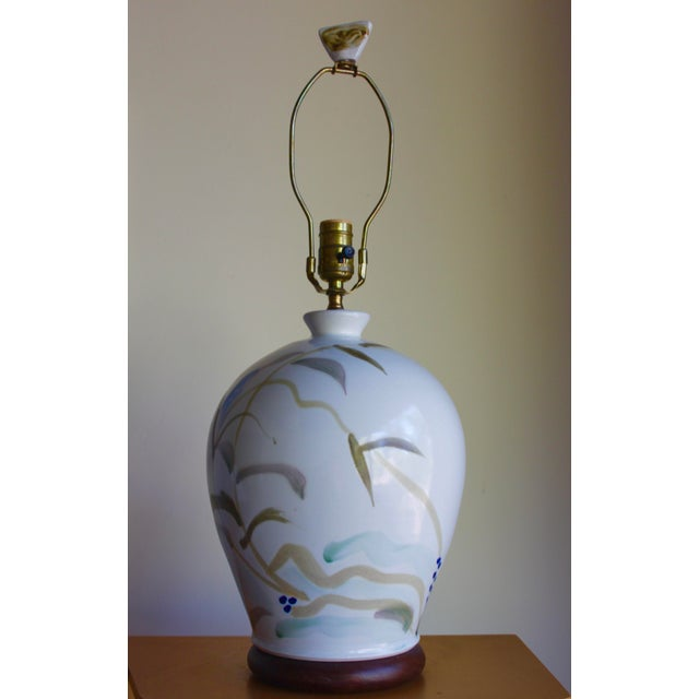 Vintage Hand Painted Japanese Style Glenn Burris Studio Handmade Pottery Lamp For Sale - Image 5 of 10