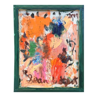 Abstract Oil Painting on Back of Canvas by Sean Kratzert ' Salad Days' For Sale