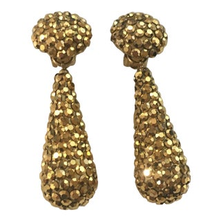 Gold Crystal Richard Kerr Drop Earrings For Sale