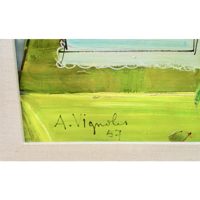 Expressionism 1950s Vintage Andre Vignoles Painting For Sale - Image 3 of 11