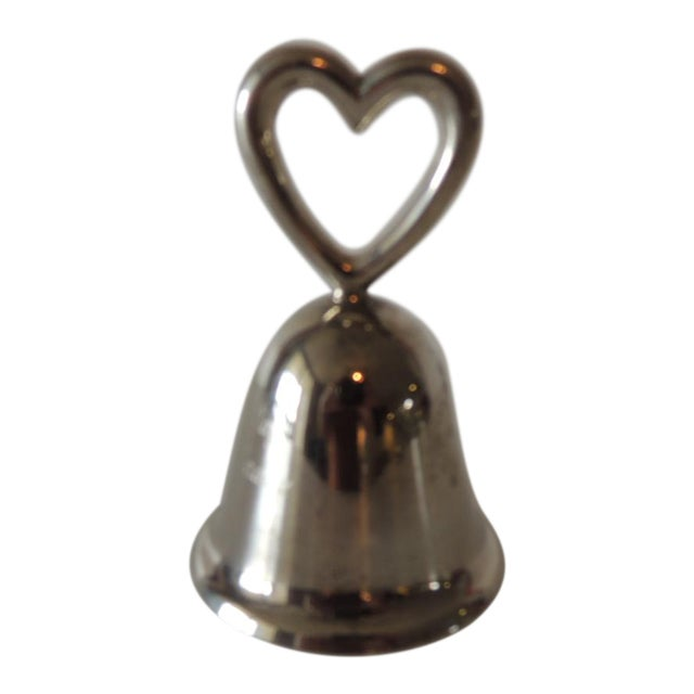 Polished Chrome Table Bell With Inscription and a Heart For Sale