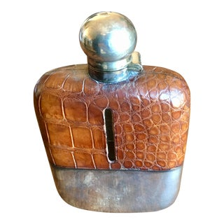 Late 1800s Sterling Silver Glass Flask For Sale