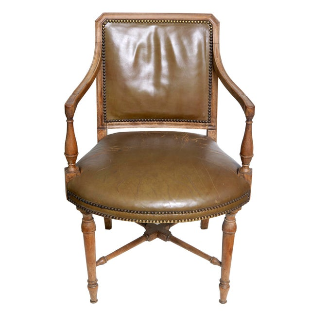 Baker Furniture Company Vintage Leather Arm Chair by Baker For Sale - Image 4 of 6