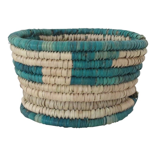Turquoise Block Basket w/ Base - Image 1 of 3