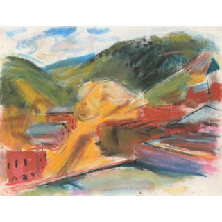 Abstracted Mountain Landscape Mid-Late 20th Century Pastel Painting For Sale
