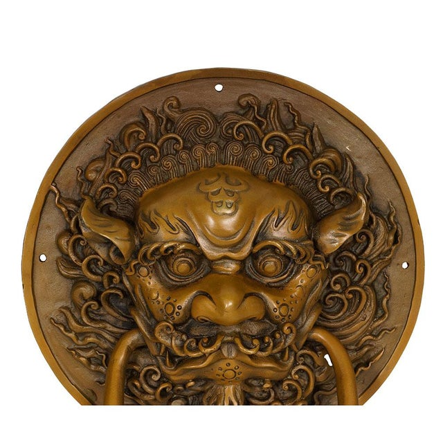 Chinese Vintage Chinese Old Fashion Brass Foo Dog Door Knob/Bells - a Pair For Sale - Image 3 of 7