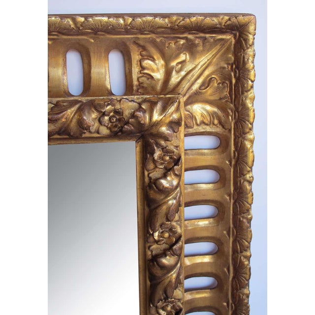 A Richly Carved Italian Baroque Style Giltwood Mirror with Reticulated Frame - Image 1 of 3