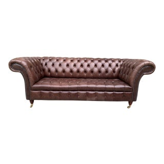 Vintage Mid-Century English Leather Tufted Seat Chesterfield 3 Seat Sofa, Brown For Sale