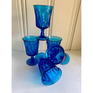 Bold Blue Vintage Glassware, Stemware Set of Five Preview