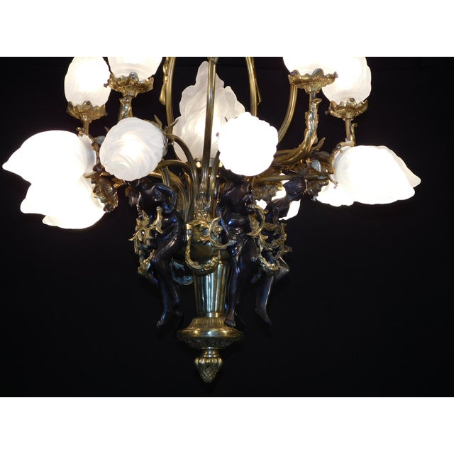 1960s Antique Bronze Maidens Flame Globe Chandelier For Sale - Image 5 of 13
