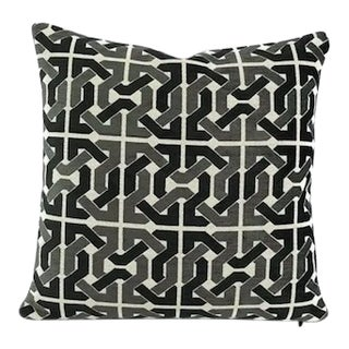 Groundworks David Hicks Cliffoney Black and Grey Pillow Cover For Sale