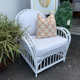 1960s Vintage White Rattan Club Chair Preview