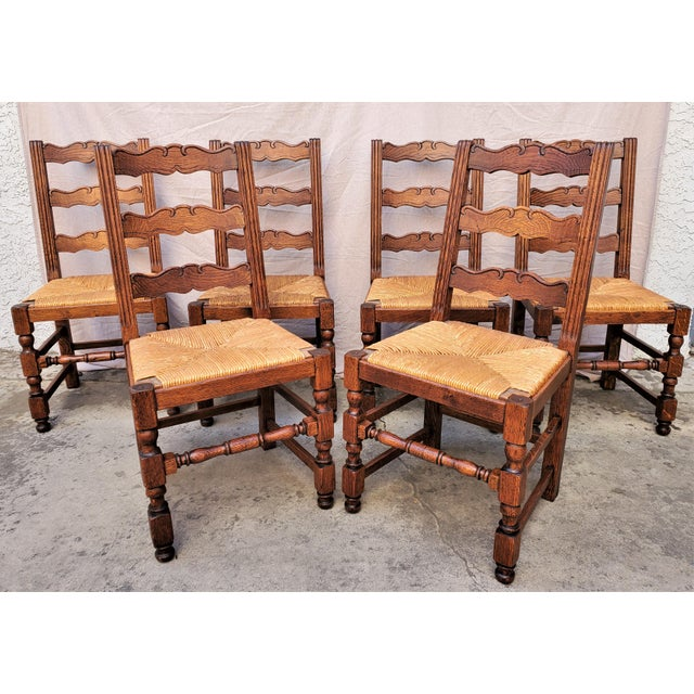 Antique Plank Solid Oak Refectory Dining Table With Set of 6 Ladderback Chairs - 7 Pieces For Sale - Image 9 of 13