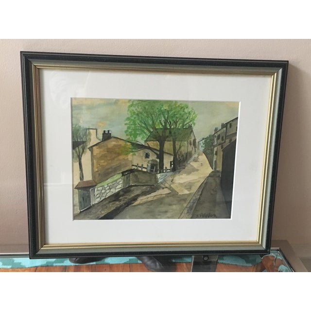 """Impressionist """"Village"""" Watercolor Painting For Sale In Baltimore - Image 6 of 6"""