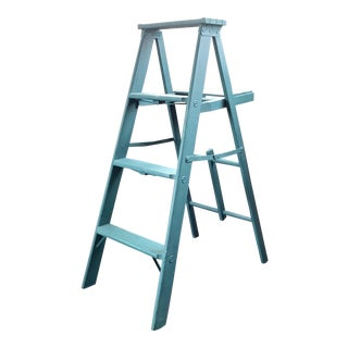 Vintage Turquoise Wood Ladder For Sale