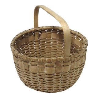 20th Century Rustic Maine Hand Woven Basket For Sale