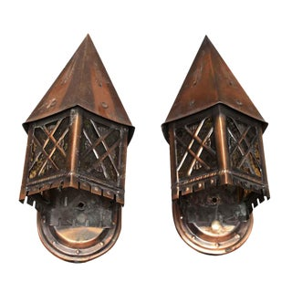 Tudor Style Copper Lantern Sconces - A Pair
