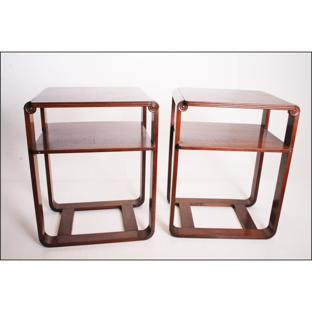 Vintage Art Deco Two Tier Wood Side Tables - A Pair - Image 10 of 11