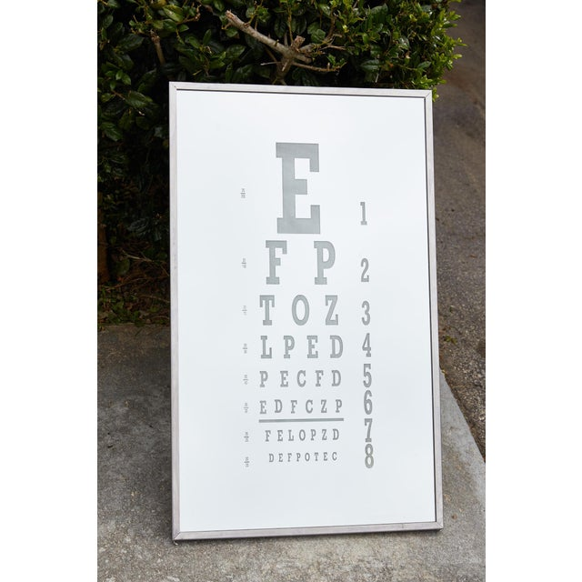 Midcentury Eye Chart Mirror For Sale - Image 4 of 13