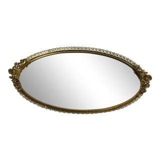 1960s Vintage Hollywood Regency Oval Mirror Dresser Tray For Sale