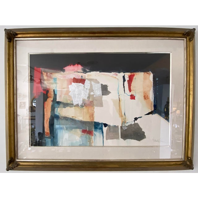 Vintage Harold Larson Painting Abstract Mixed Media Collage For Sale - Image 11 of 13