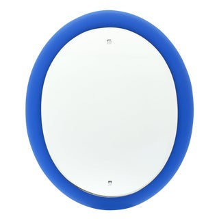 1960s Vintage Cobalt Blue Glass Mirror For Sale