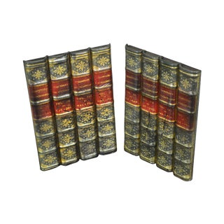 Maitland Smith Pair Leather Bound Faux Book Facades (B) For Sale