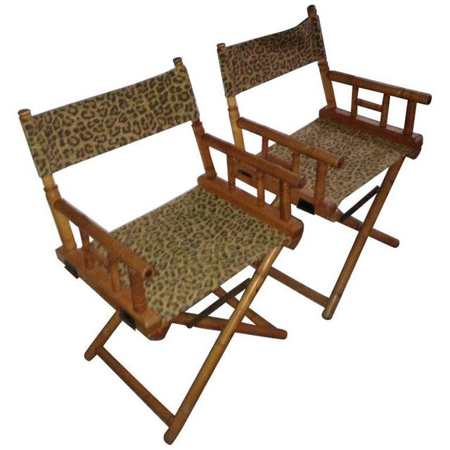 Directors Chairs From Telescope Chair, Leopard Print Fabric, Midcentury, Pair For Sale - Image 13 of 13
