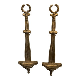 Gold Gilded Wall Plate Holder Shelf Sconces - a Pair